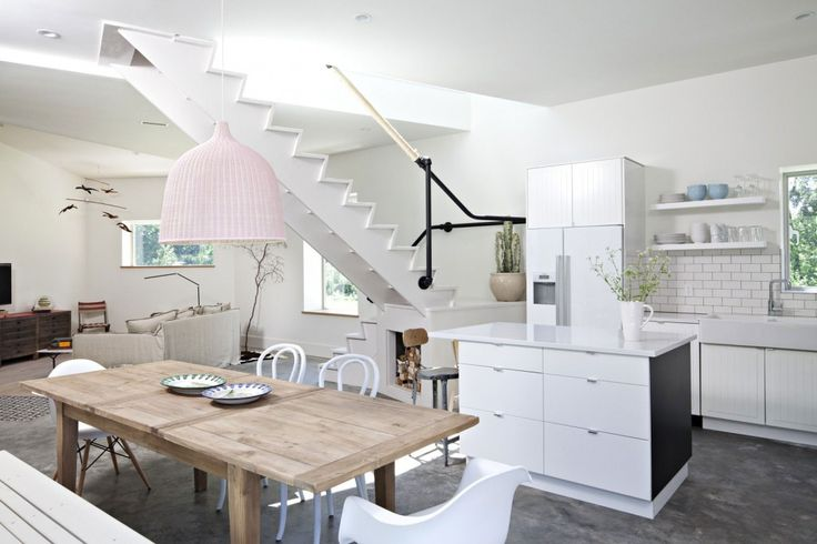 Architecture: Minimalist Modern White Interior Design With Wooden Dining Table And White Sleek Kitchen Island Countertop Also Polished Concrete Floor Ideas: Impressive Contemporary Country House in New York