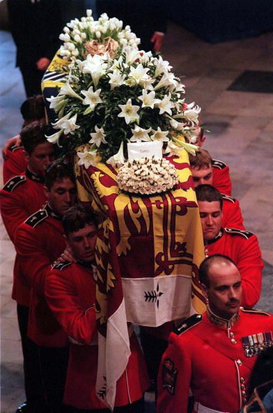 Flower laden coffin of Princess Diana during funeral procession, September 6, 1997.