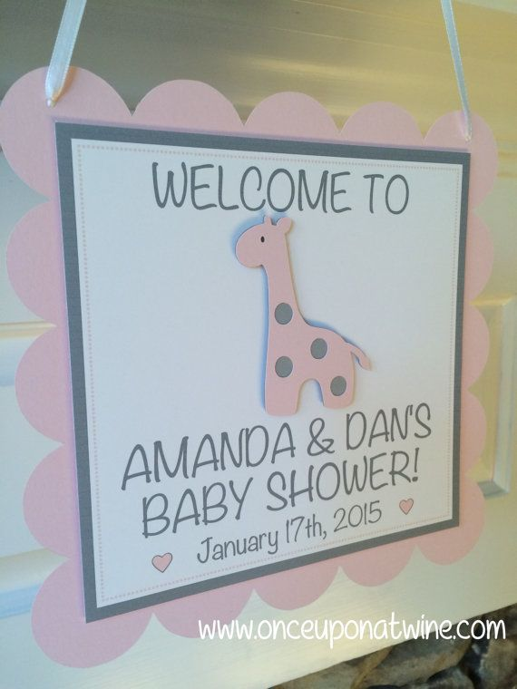 Giraffe BABY SHOWER Sign Pink U0026 Gray Giraffe Decor By OnceUponATwineDesign