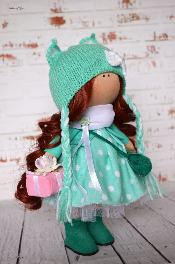 Fabric doll Interior doll Home doll Art doll handmade brown green colors Tilda…