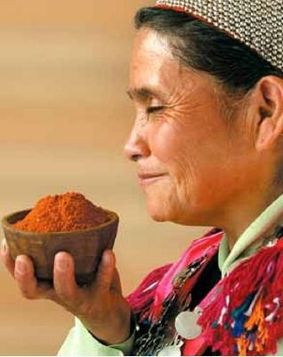 Mapuche Woman with red chili, salt and coriander seeds.  #people