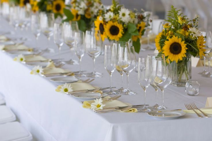 sunflowers and daisies at long tables, says summer