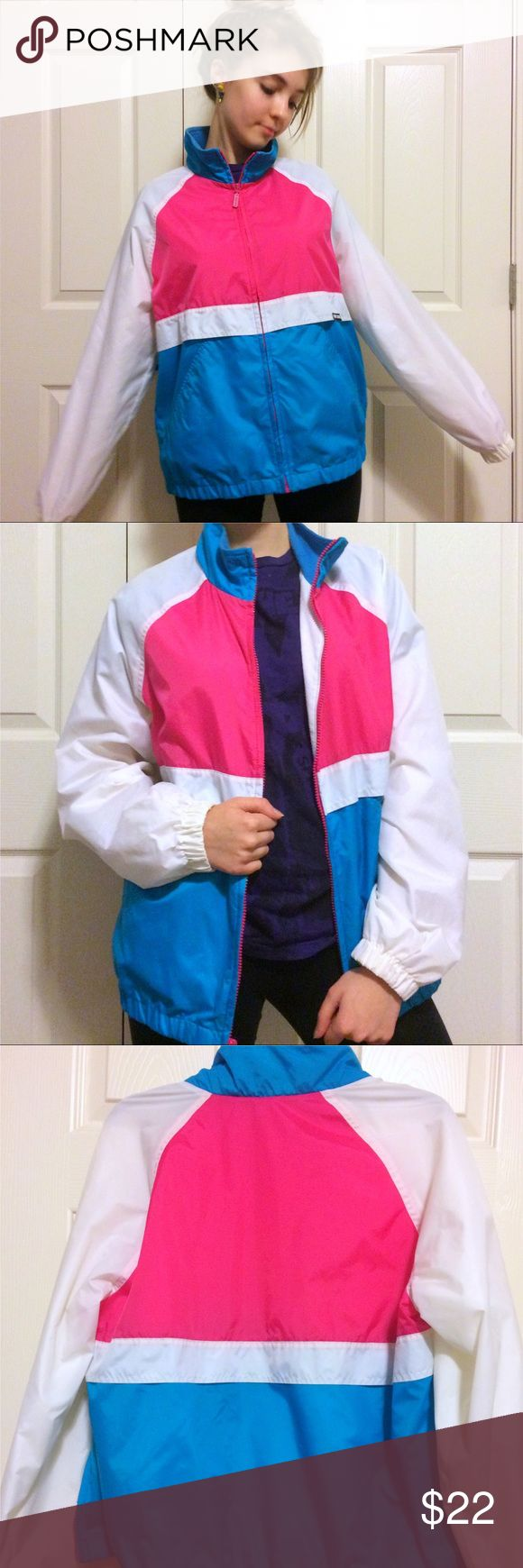 Cabin Creek Pink Blue and White zip jacket Cabin Creek Pink Blue and White Zip up Jacket with two pockets. Size M.  Shell: 100% Nylon, Lining: 70% polyester 30% cotton, Sleeve: 100% Nylon, Knit 100% Acrylic. Made in the Philippines. Cabin Creek Jackets & Coats Puffers