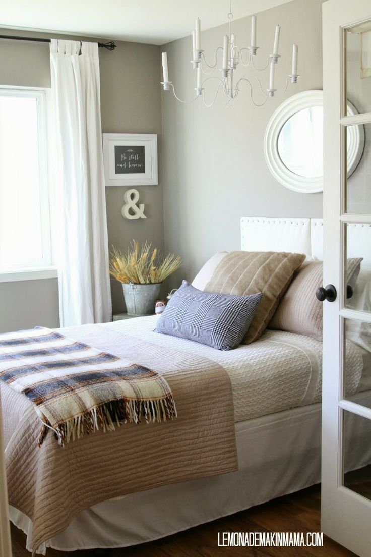 Guest room ideas for cozy fall evenings. Flannel and an old plaid blanket change the whole feel of the room.