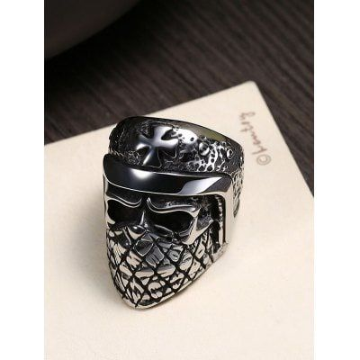 Just US$5.99 + free shipping, buy Vintage Skull Carving Gothic Style Tianium Steel Ring online shopping at GearBest.com.