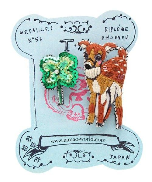 tamao(タマオ)の刺繍ミニブローチ4(ロバと花売りの少女/かかしと木こり/子鹿とクローバー/ワシリー教会とミニマトショーリカ)(ブローチ/コサージュ) その他3