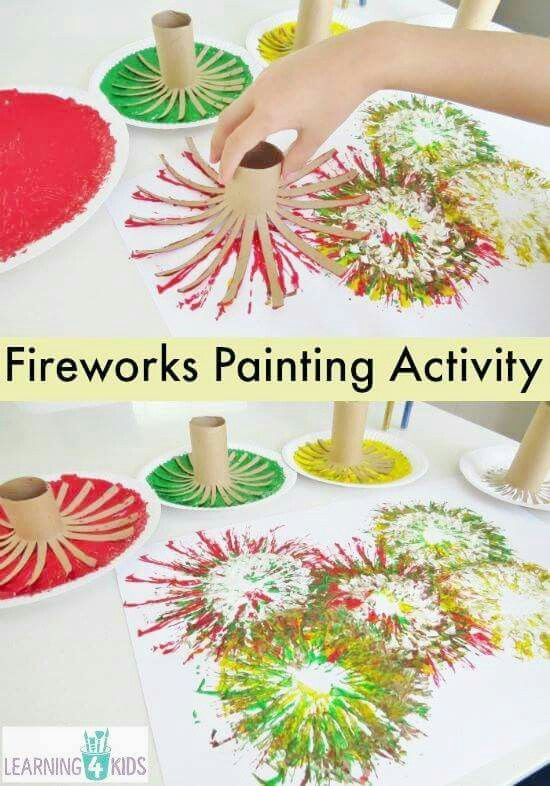 Make fireworks painting out of paper rolls