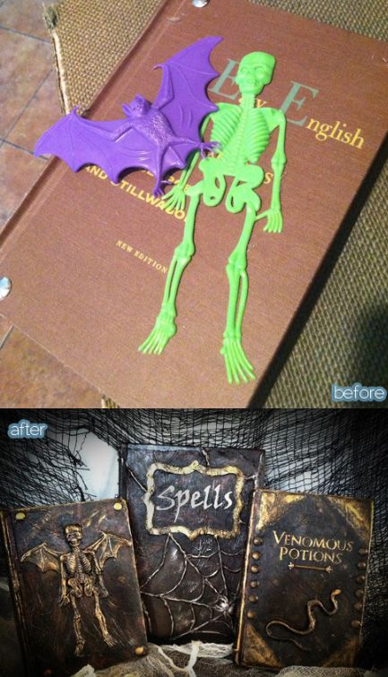 Altered Book using cheap toys, a paper towel, mod podge and craft paint.  Awesome!