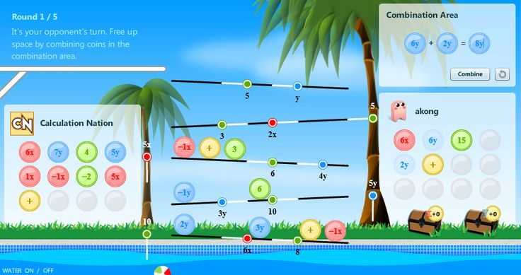Ker-Splash: Dive into math fun as you grab tokens, combine terms, and use your algebra skills! Increase the coefficients to maximize your score when the secret values of the variables are revealed.