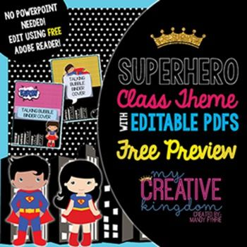 EDITABLE PDF Superhero Mega Bundle FREE Preview that doesn't require you cut and paste and NO PowerPoint. Just type your text and print. That's it!  - My Creative Kingdom