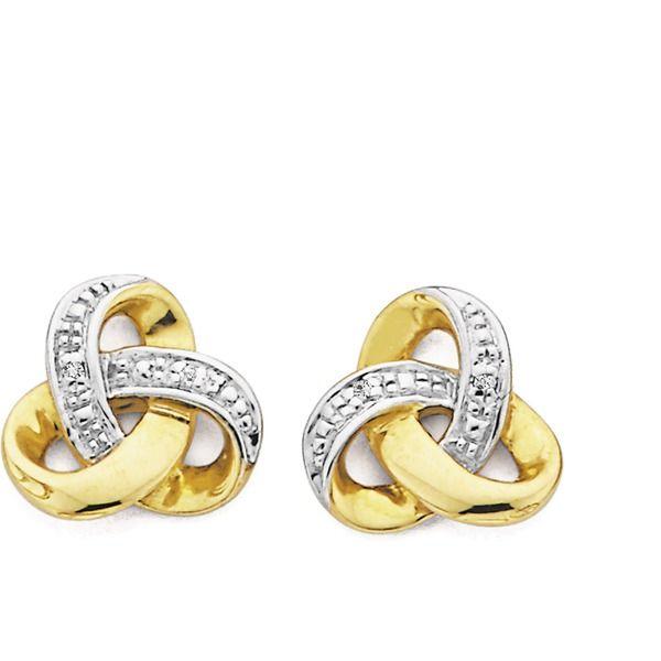 9ct Gold Diamond Knot Stud Earrings