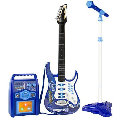 Kids Electric Guitar Play Set with MP3 Player, Speaker & Mic Blue