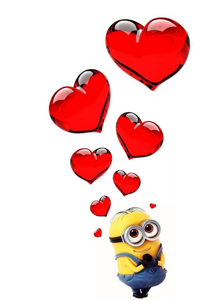 Картинки миньонов с сердечком