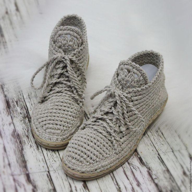 Купить Льняные ботиночки вязаные - хаки, мокасины, мокасины женские, мокасины вязаные