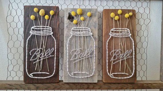 Mason Jar String Art Reclaimed Wood Real Dried von LottieElizabeth
