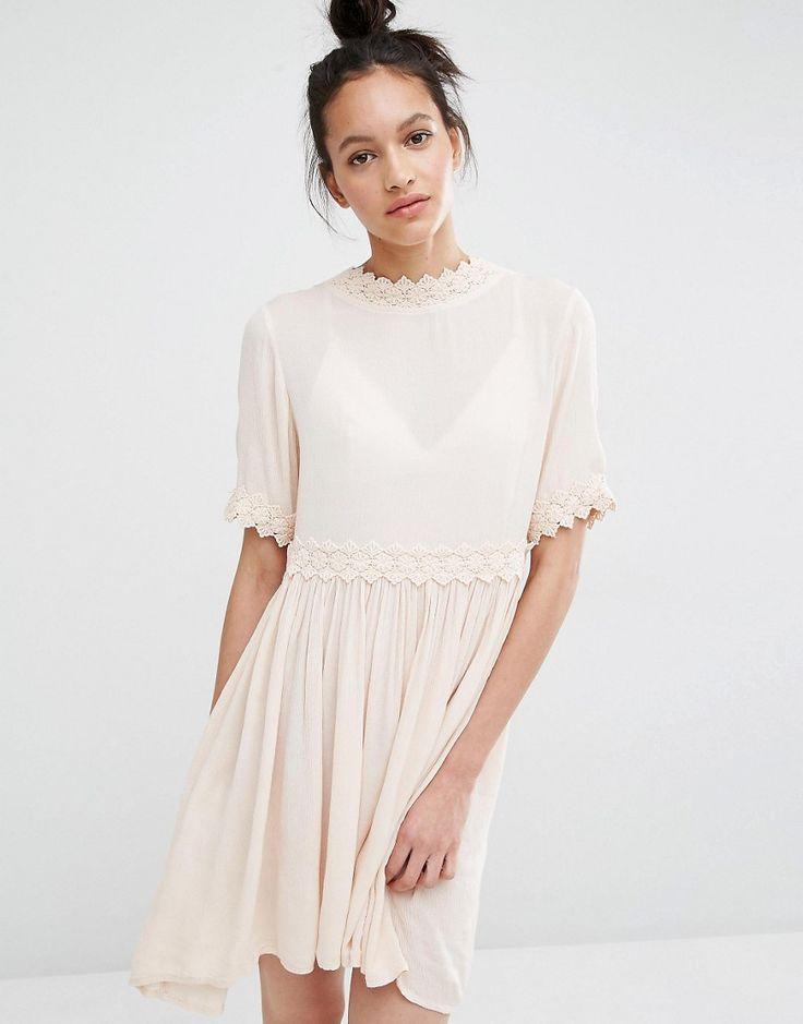 Vero+Moda+Cross+Back+Crochet+Trim+Dress