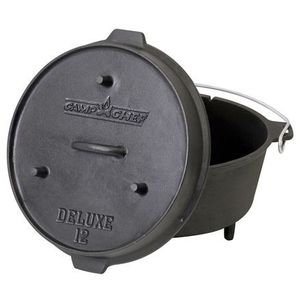 If images of chicken pot pie, beef stew, or huckleberry cobbler dance in your head while you hike, then you must have the Camp Chef Deluxe 9 1/3-Quart Dutch Oven waiting for you back at camp. This cast-iron dutch oven is ready to cook with a True Seasoned Finish, and it features a lid that doubles as a skillet, so you can cook up a little b and e in the morning.