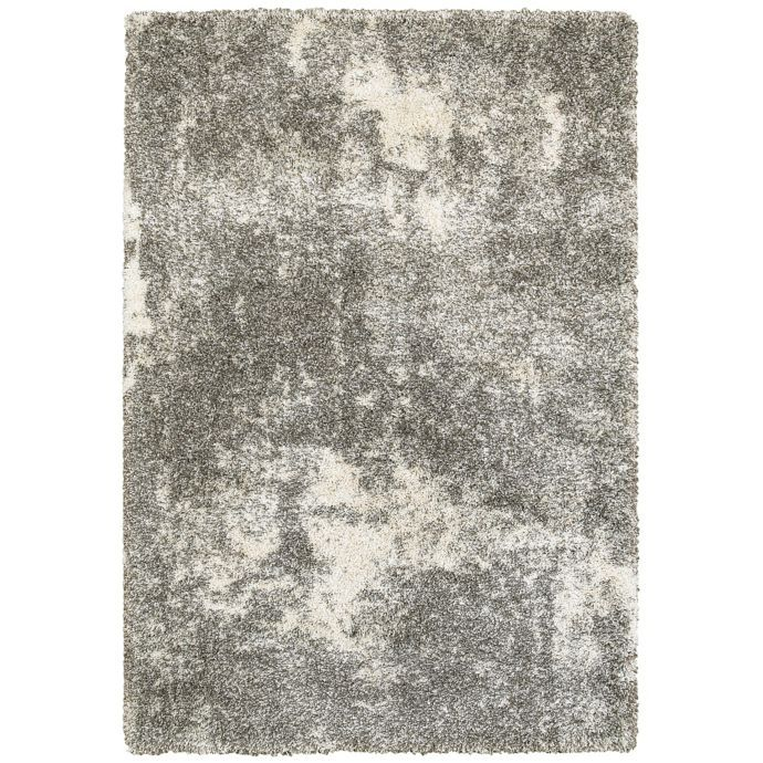 Oriental Weavers Henderson Abstract Shag Rug In Grey Ivory Bed