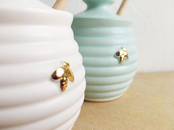 Vaso di miele con ape d'oro  oro ceramica  Bee amante doni