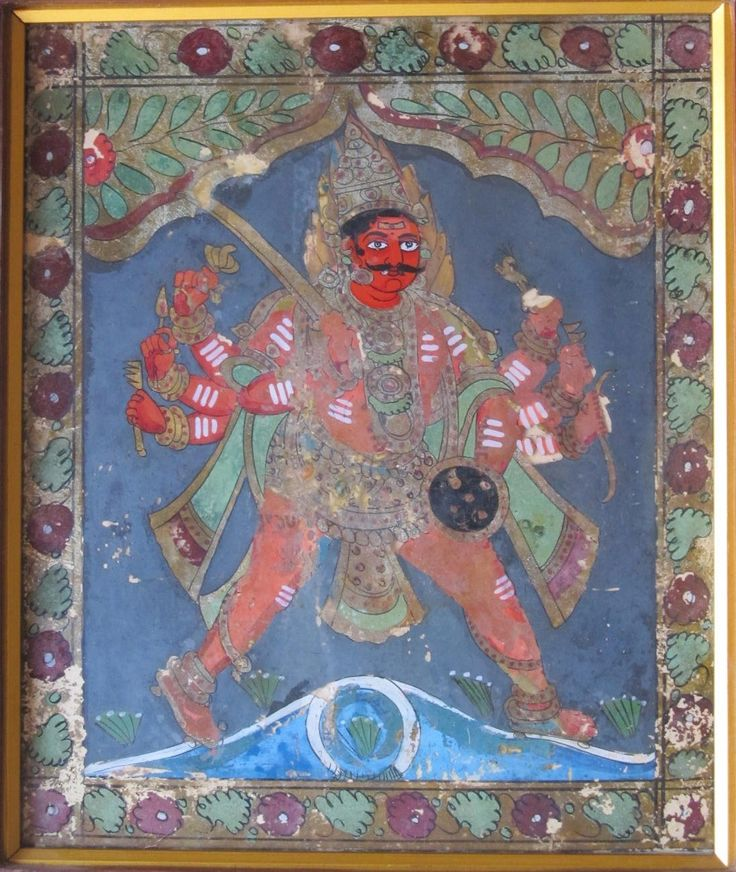 Veerabhadra. Mysore style glass painting. Circa 20th century.