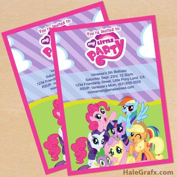 FREE Printable My Little Pony Birthday Invitation Set
