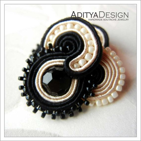 Soutache Ring Black Beige Handmade Jewelry OOAK by AdityaDesign,