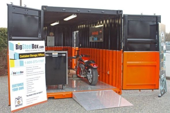 Harley container garage barns sheds etc pinterest for Motorcycle garage plans