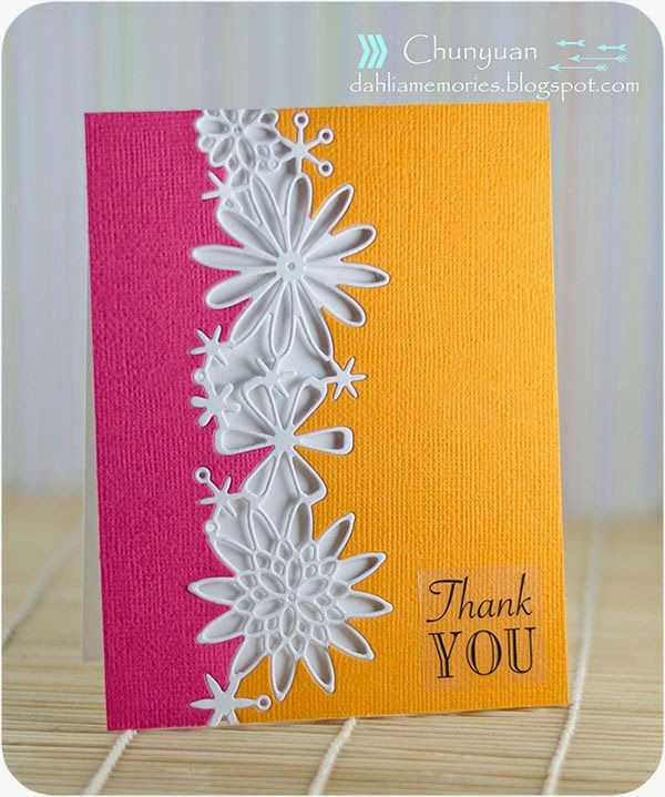 Dahlia Memories: Poppy Stamp Modern Floral Thank you card