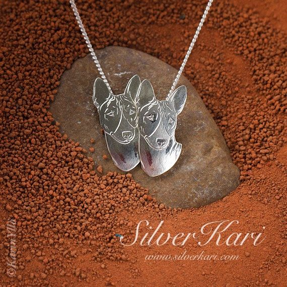 Basenji, necklace with a double mounted pendant, all in sterling silver