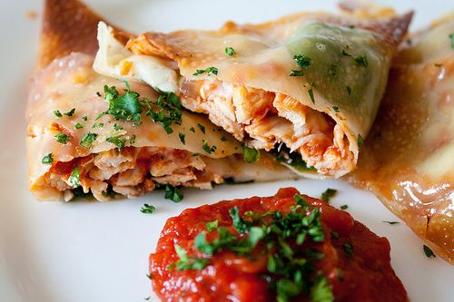 more fun with Won Ton wrappers--Chicken Parmesan wraps