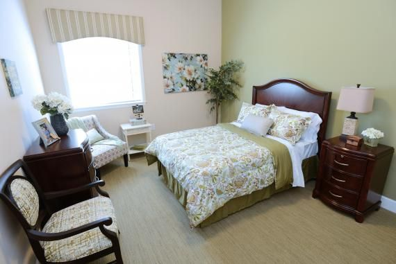 An example of a model apartment at Autumn Leaves of Towne Lake. A motion sensor program in each resident's private room allows for safer independent living. The system subtly alerts staff members, if needed, and gathers information that serves to improve the resident's comfort level. Photo: The LaSalle Group; Randy Wilson Photography.
