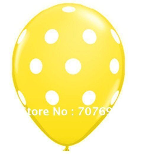 free shipping balloons wholesale,30cm yellow color 12inch  natural latex dots balloon 100pieces per pack