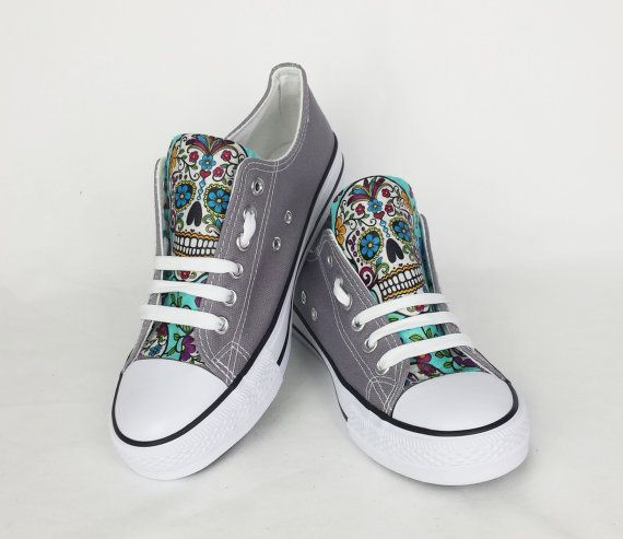 Hey, I found this really awesome Etsy listing at https://www.etsy.com/listing/470804321/sugar-skull-shoes-grey-blue-candy-skull