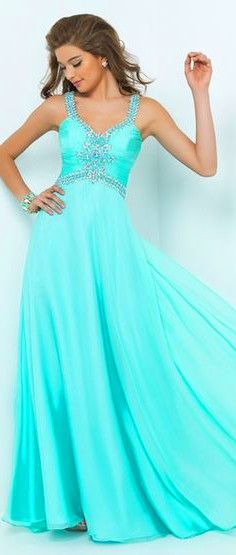 blue gown #fashion #dress #prom #chic
