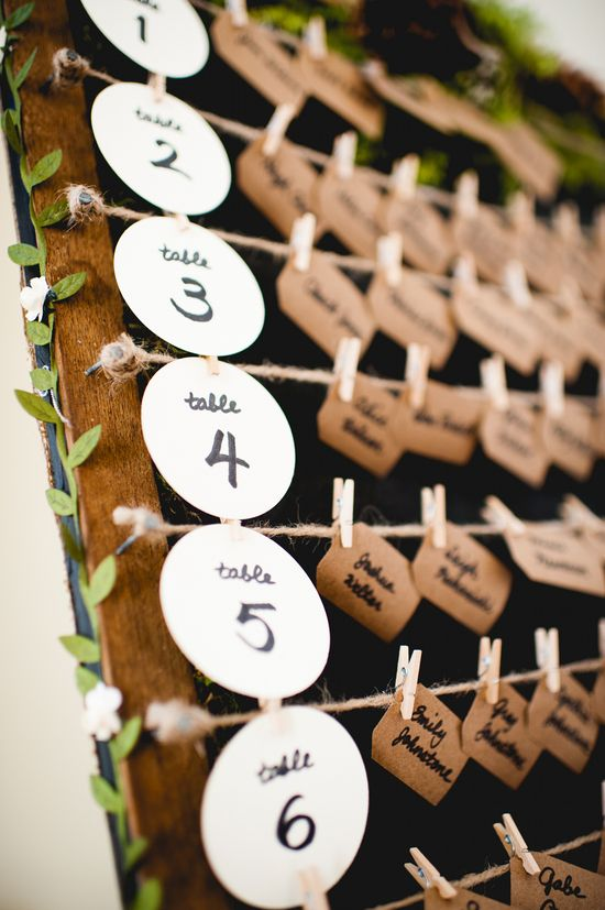 Rustic wedding escort card display with kraft paper and moss