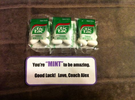 "Cheerleading competition good luck gift. ""You're MINT to be amazing"", tic tac mints, cheer gram, candy gram, candy sayings, coaches gift, motivational gift, DIY"