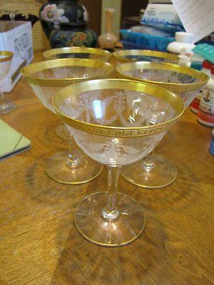 Set of 5 Stunning Tiffin Gold Rim Etched Wine Stems   eBay