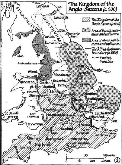 A small-scale map showing the English-Danish-Norse divisions c. 900.