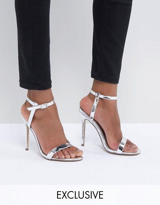 newest ec099 d1753 Missguided exclusive barely there heeled sandals in silver ...
