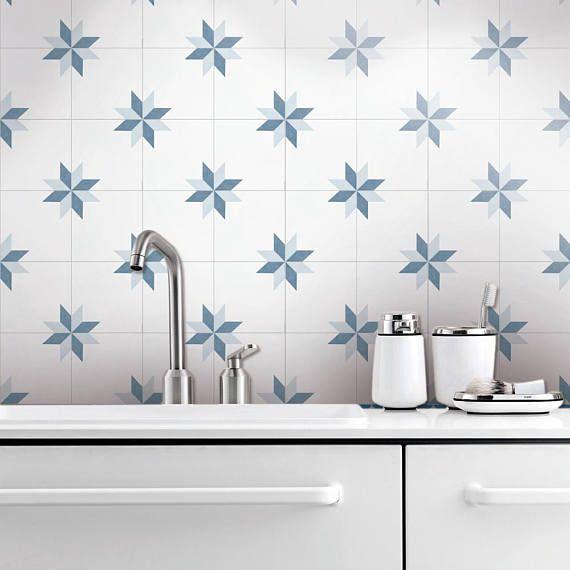 Sticker Carrelage Style des Étoiles, - Tuiles Stickers - échelle de gris - Carrelage pour salle de bains - PACK DE 10  <-----------------------------------LINKS----------------------------------->  Pour voir plus dart qui se penchera magnifique sur vos murs Visitez notre magasin: