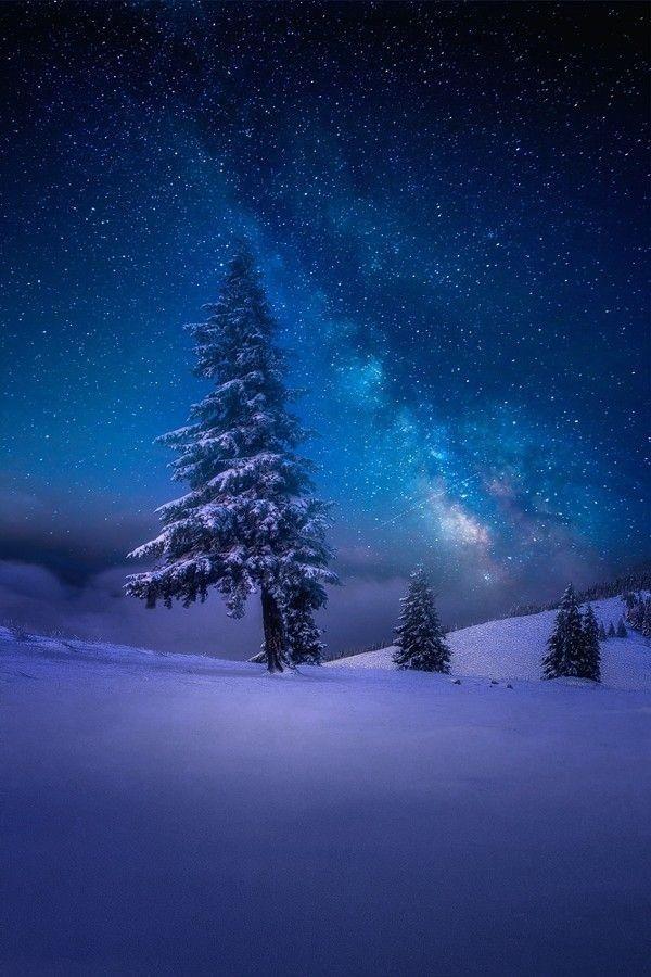 Milky Way Horizon Winter Landscape Night Skies Beautiful Nature
