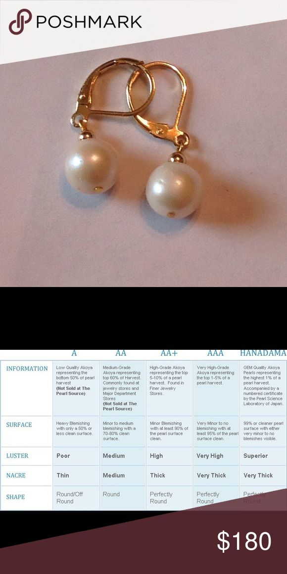 White Akoya Pearl Earrings 9mm 14k Gold Leverback 9 mm AA quality Akoya Pearl white with cream undertones earrings Leverback design 14k yellow gold. Affordable priced. LA Custom Designs Jewelry Earrings