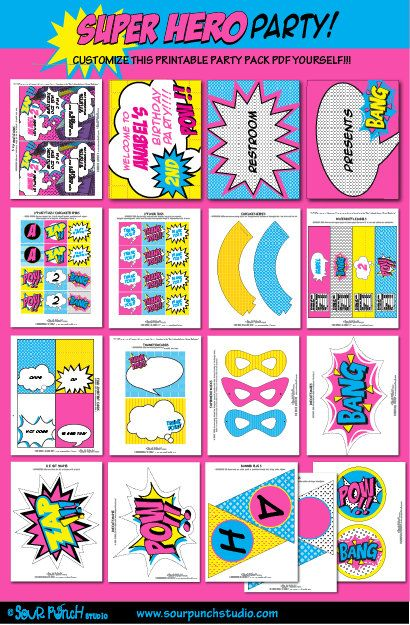 Abigail's 4th - Birthday SUPERHERO GIRL Pink Printable Party Package YOU by SourPunchStudio. , via Etsy.