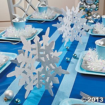 Glitter Snowflake Centerpieces, Centerpieces, Tableware, Party Themes & Events - Oriental Trading
