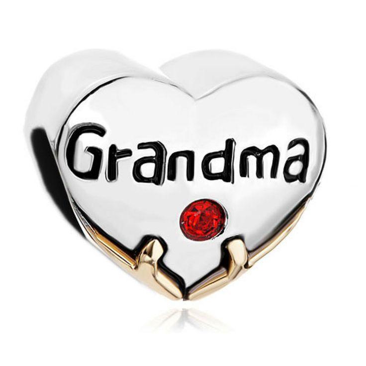 Heart Grandma Red Swarovski Crystal Love Beads Charm Pandora Chamilia Compatible | Charmsstory.com  #grandma #pandora #charms #love #swarovski #crystal #red