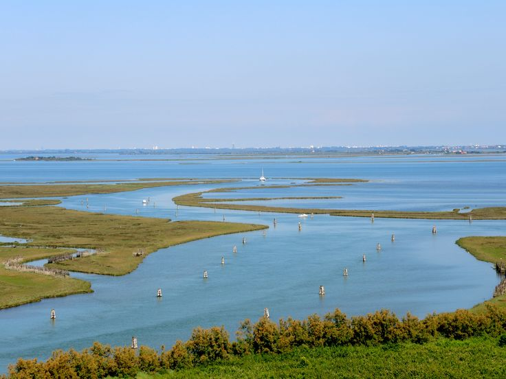 A  panoramic view of the open lagoon from Torcello's bell tower