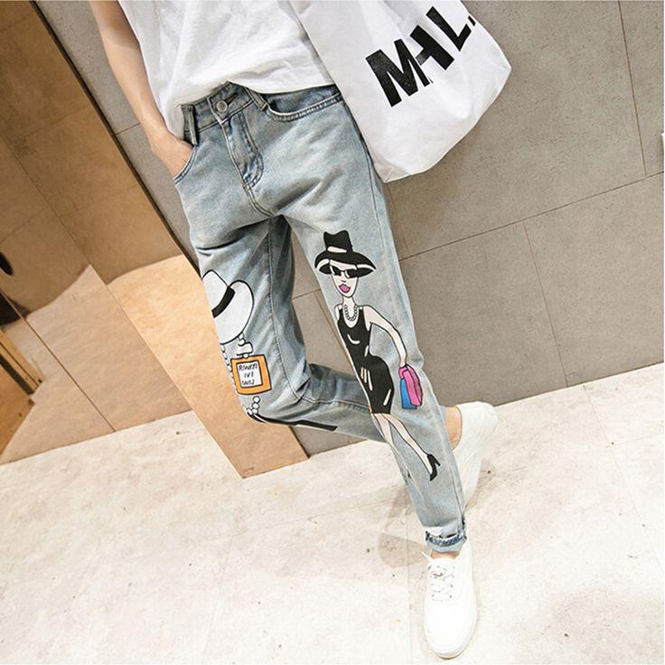 Купить товарАмериканский одежды широкий мешковатые штаны бойфренд джинсы ветер отверстие в новом карикатуры печатаются рваные джинсы узкие джинсы карандаш в категории Джинсына AliExpress.         '