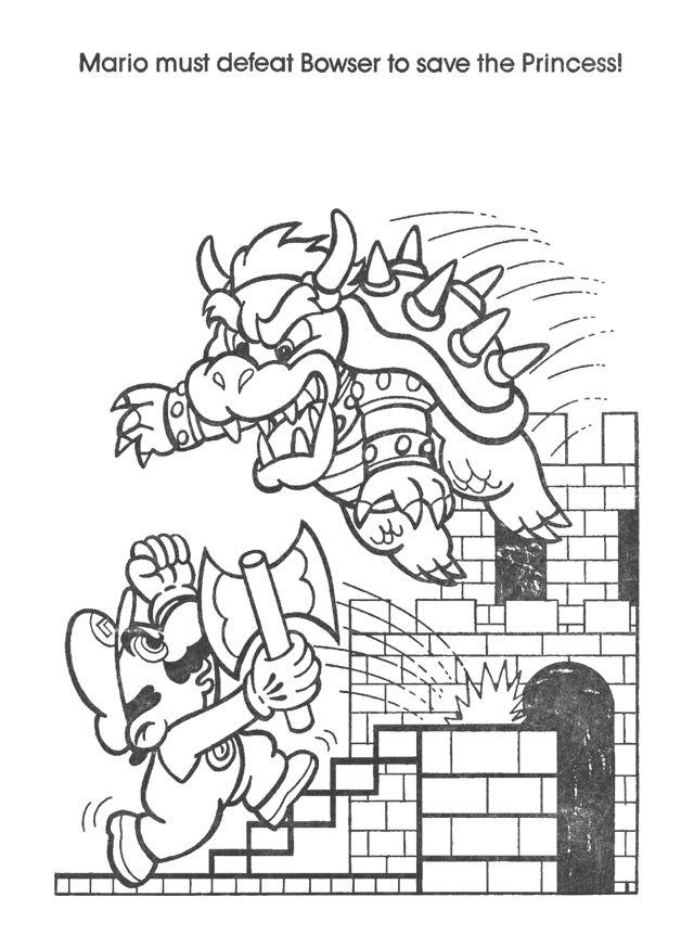Retro Mario & Bowser Coloring Book Pages | Mario coloring ...