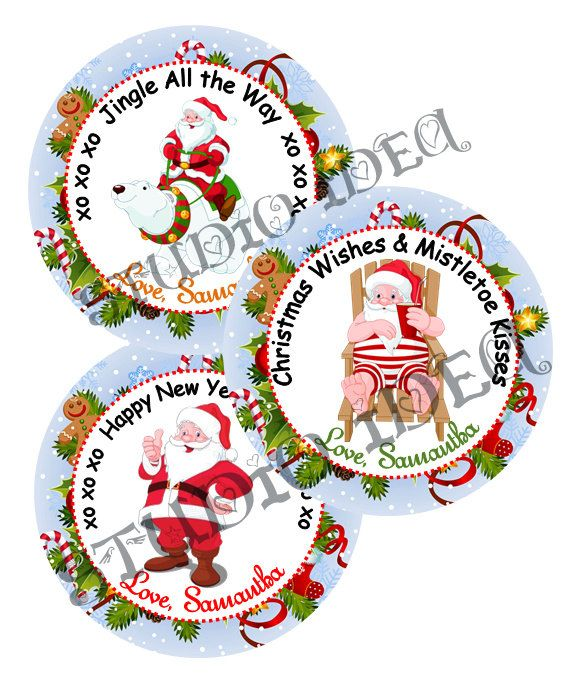 """Custom Santa Claus 2.5"""" Printable Tags-Toppers - Christmas Holidays Wishes Personalized Tags, DIY (You Print) 2.5"""" tags-Digital File by StudioIdea on Etsy"""
