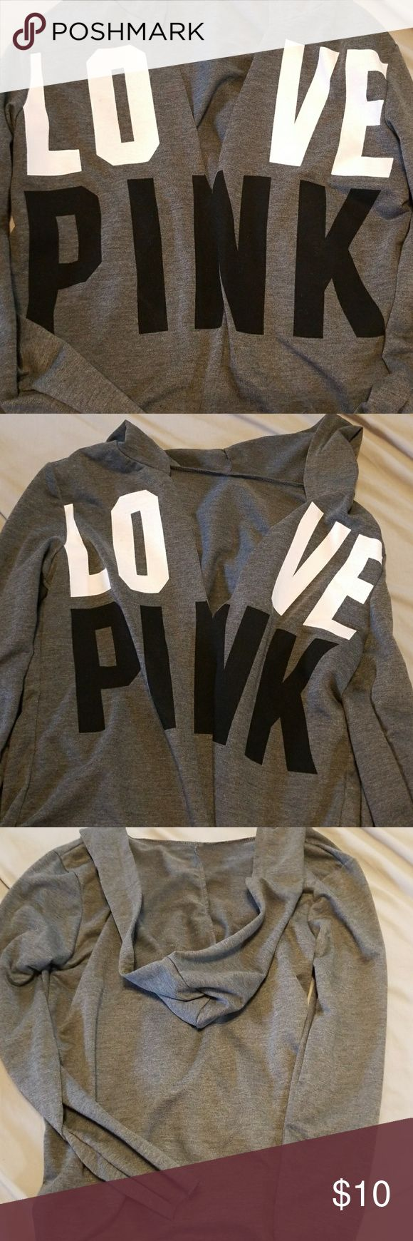 Victoria secret thin hoodie. Low cut v Thin VS. Hoodie never been worn, just too small for me. Very cute!! PINK Victoria's Secret Tops Sweatshirts & Hoodies